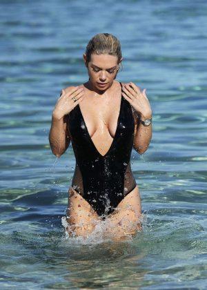 Frankie Essex in Black Swimsuit on the beach in Cyprus