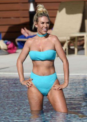 Frankie Essex in Blue Bikini on the pool in Portugal