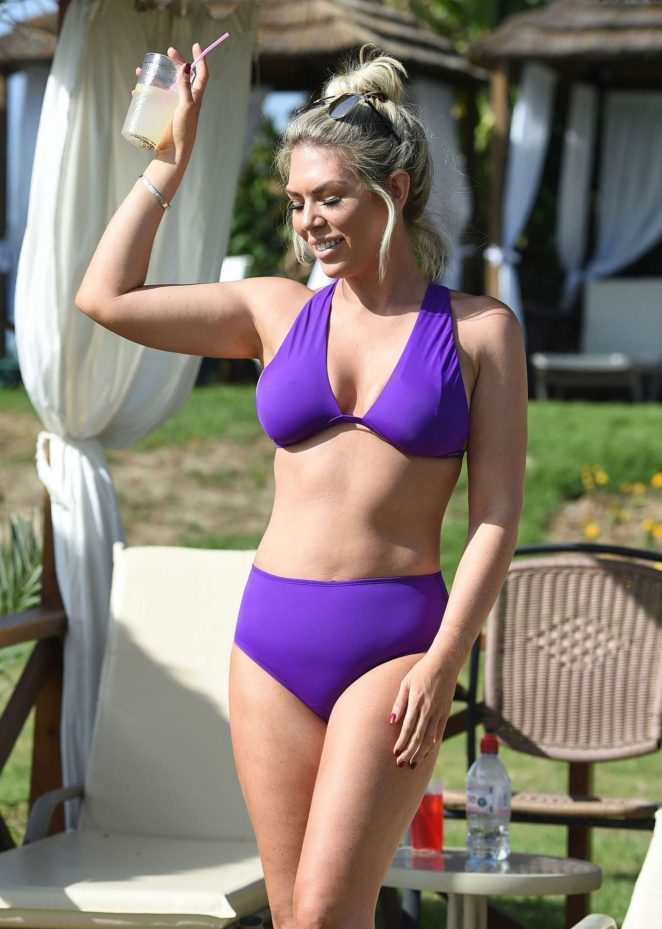 Frankie Essex in Purple Bikini on holiday in Cyprus