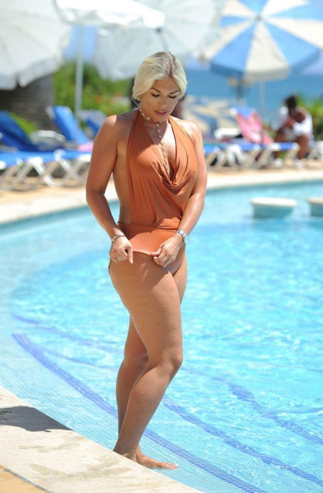 Frankie Essex - In Swimsuit Poolside in Marbella
