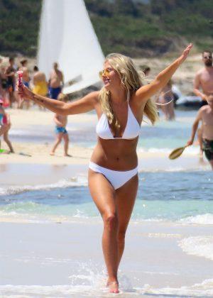 Frankie Gaff in White Bikini on a Photoshoot in Spain