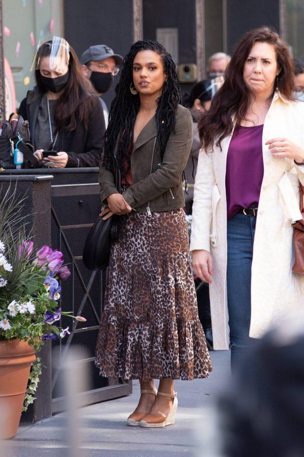 Freema Agyeman - On set of 'New Amsterdam' in Soho - New York