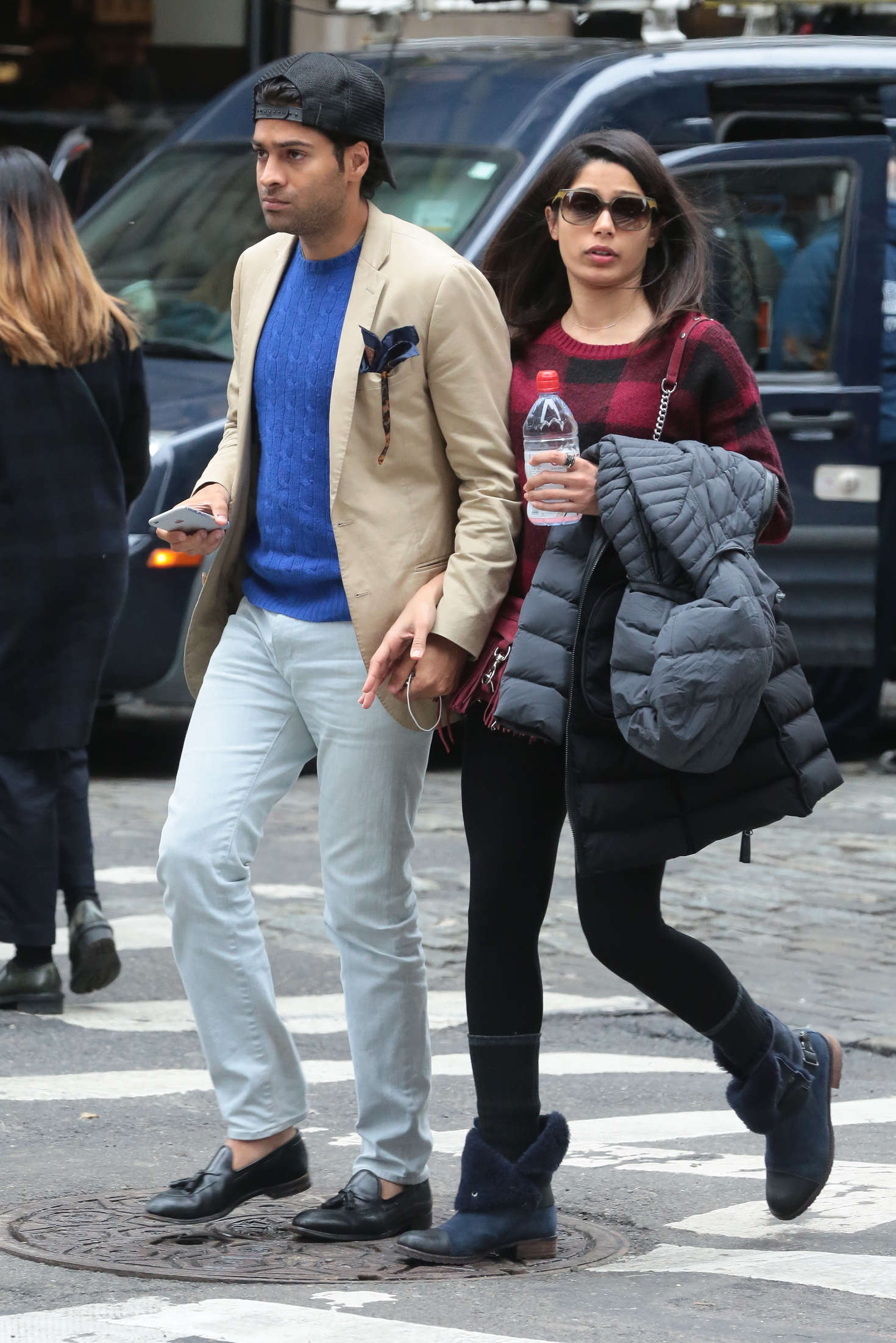 Freida Pinto and her boyfriend out in New York -01 – GotCeleb