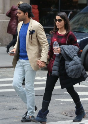Freida Pinto and her boyfriend out in New York