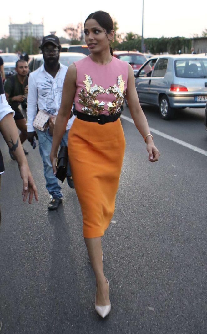 Freida Pinto: Arrives at Moschino Fashion Show -08 | GotCeleb