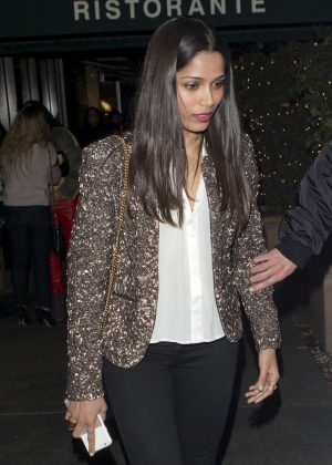 Freida Pinto at Italian restaurant Madeo in West Hollywood
