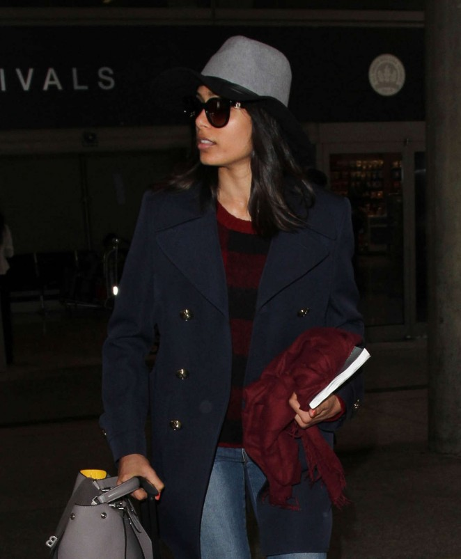 Freida Pinto at Los Angeles International Airport
