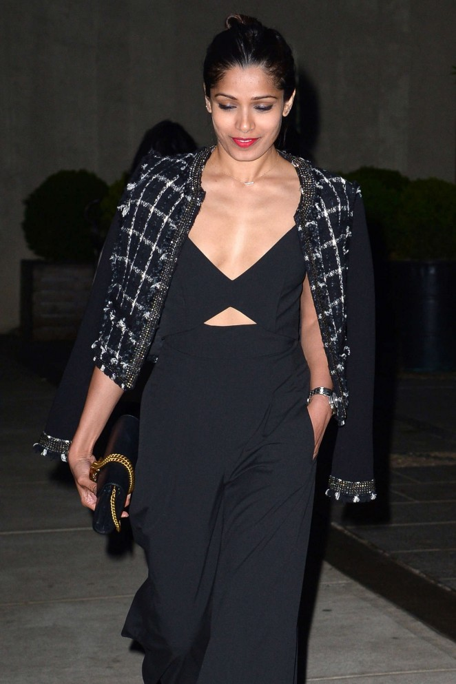 Freida Pinto in Black Dress out in Manhattan