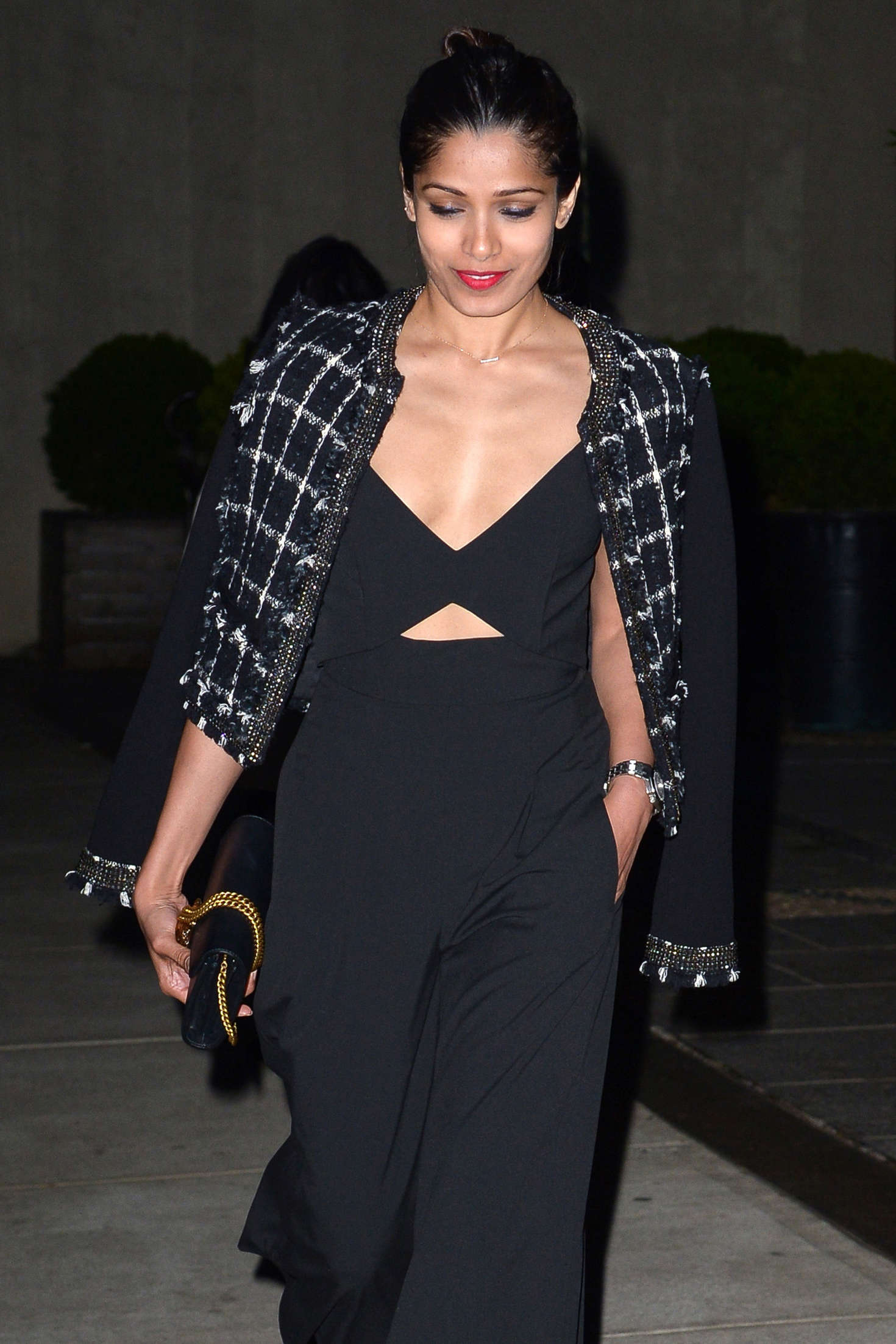 Freida Pinto in Black Dress out in Manhattan Freida Pinto