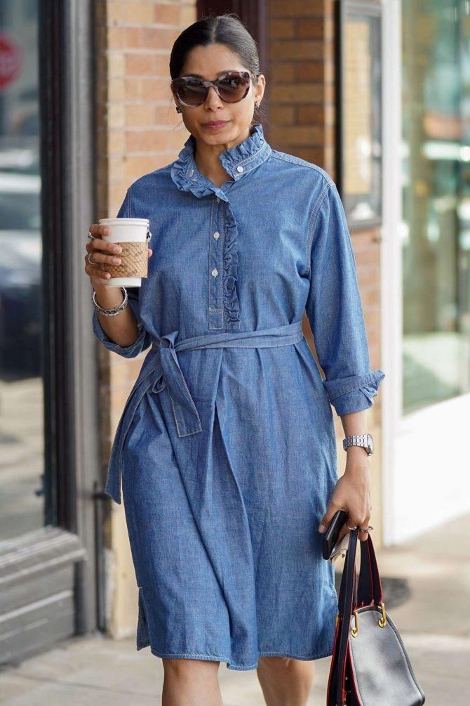 Freida Pinto in Denim Dress - Shopping in LA