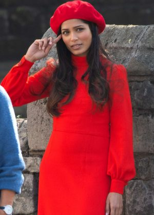 Freida Pinto in Red - On a film shoot in Primrose Hill