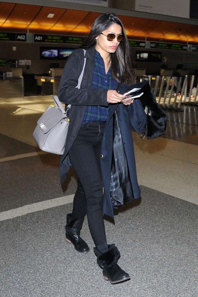 Freida Pinto - Leaves LAX Airport in Los Angeles