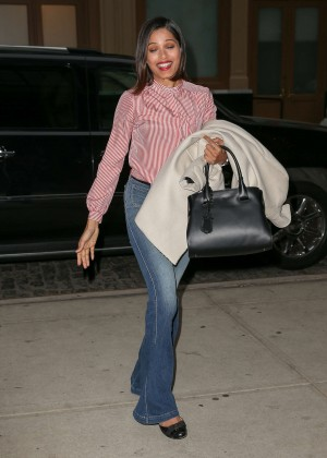 Freida Pinto in Jeans Returning to her hotel in NYC