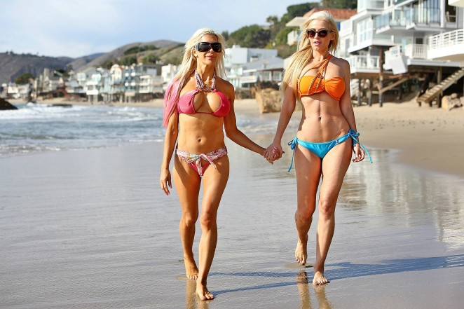 Frenchy Morgan and Ana Braga in Bikinis on Malibu Beach