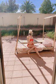 Frenchy Morgan - Tanning in her garden in Las Vegas