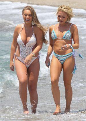 Gabby Allen and Tyne-Lexy Clarson in Bikini and Swimsuit in Marbella