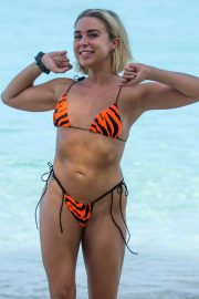 Gabby Allen in Bikini on the beach on vacation in Barbados