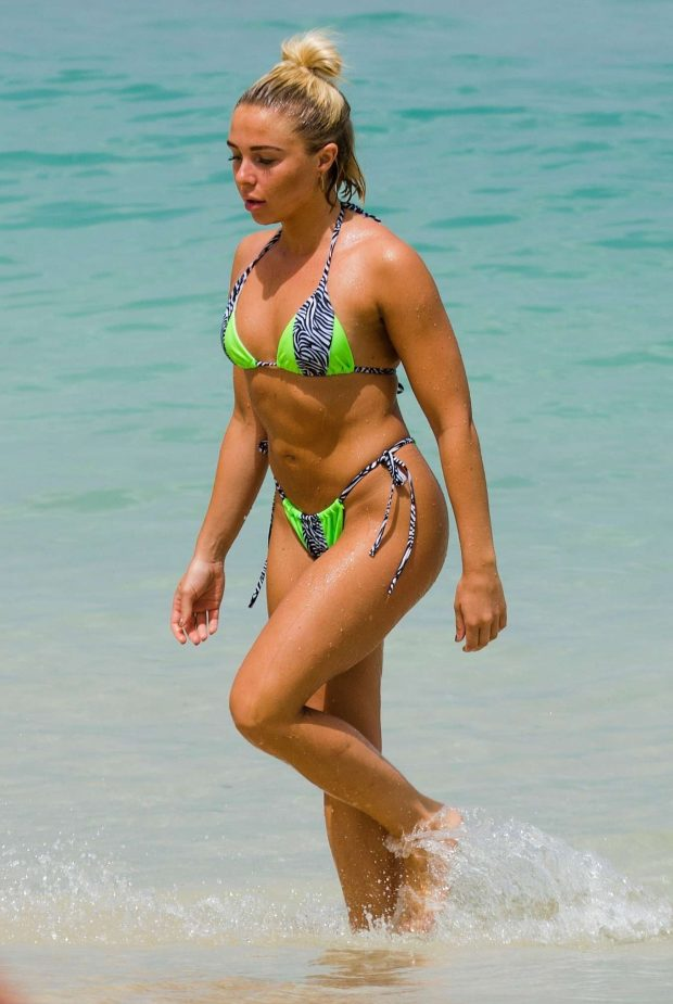 Gabby Allen in Green Bikini on the beach in Barbados