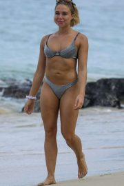 Gabby Allen in Silver Bikini on the beach in Barbados