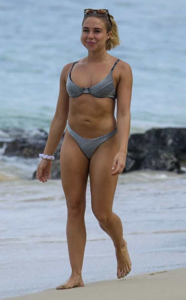 Gabby Allen in Silver Bikini on the beach in Barbados