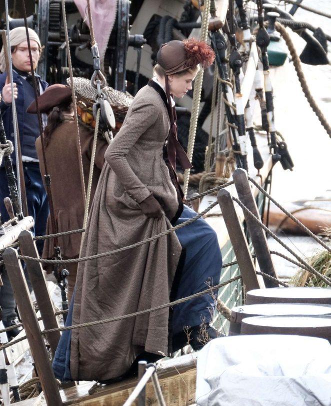 Gabriella Wilde - Filming 'Poldark' in Charleston