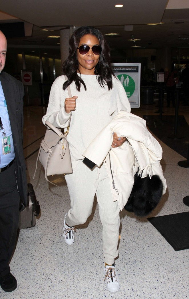 Gabrielle Union in White at LAX -05