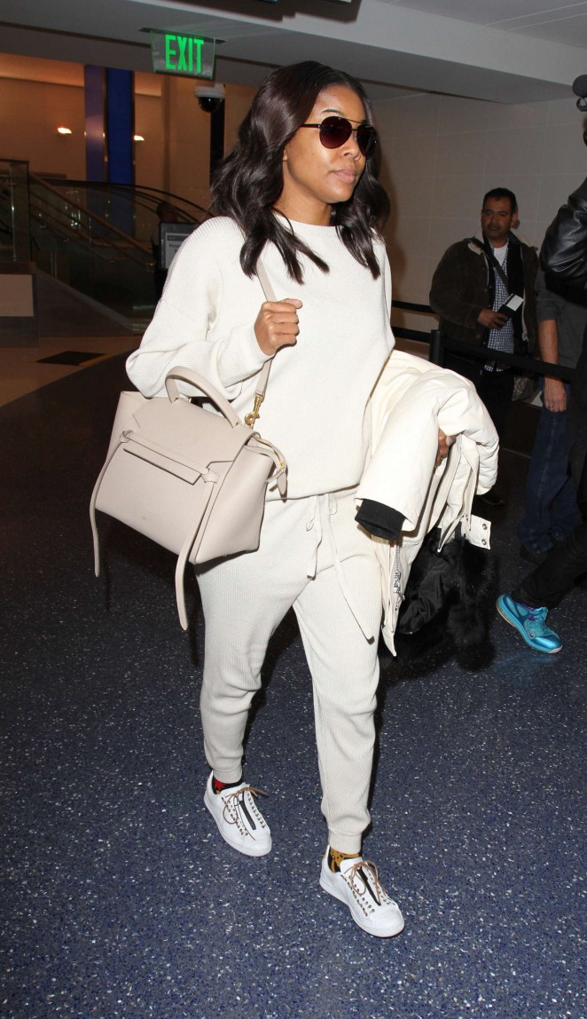 Gabrielle Union in White at LAX -06