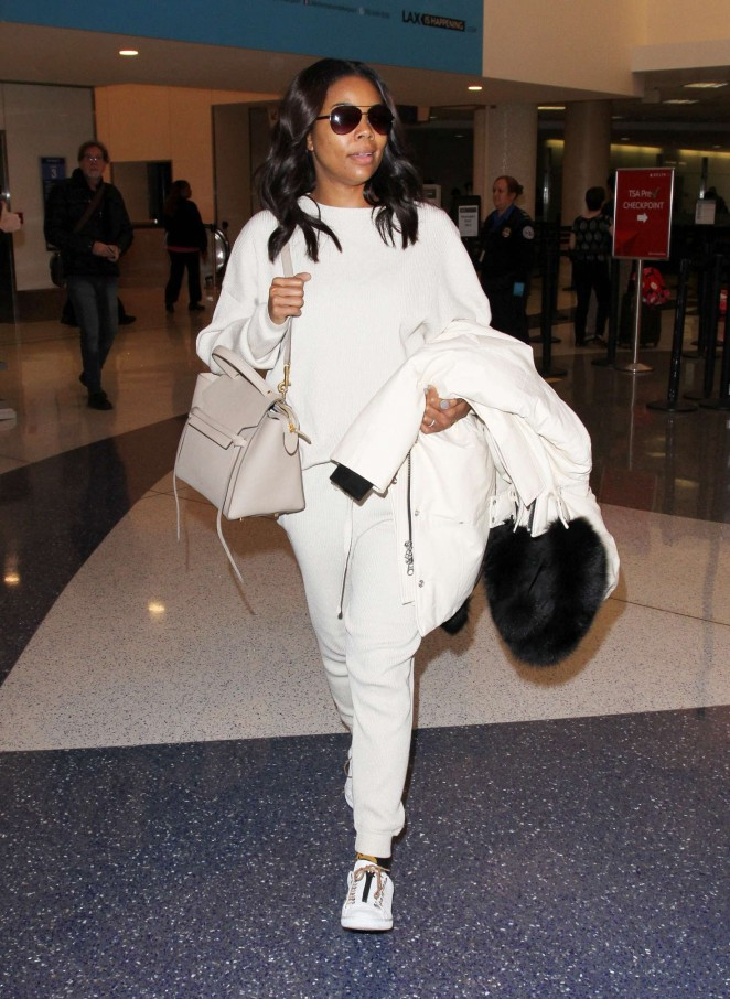 Gabrielle Union in White at LAX -08