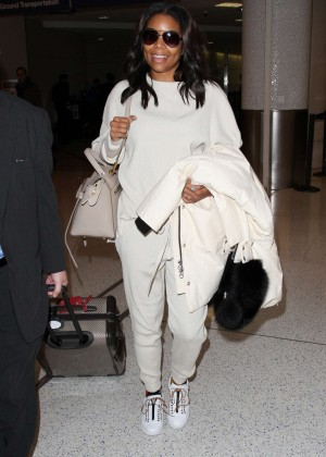 Gabrielle Union in White at LAX Airport in LA