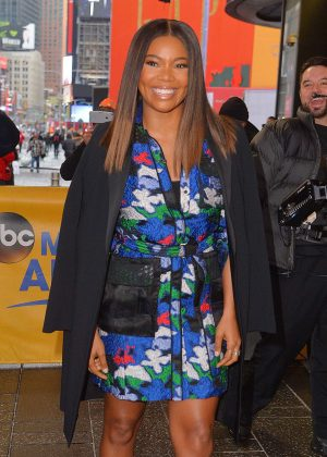 Gabrielle Union in floral dress at Good Morning America in NYC