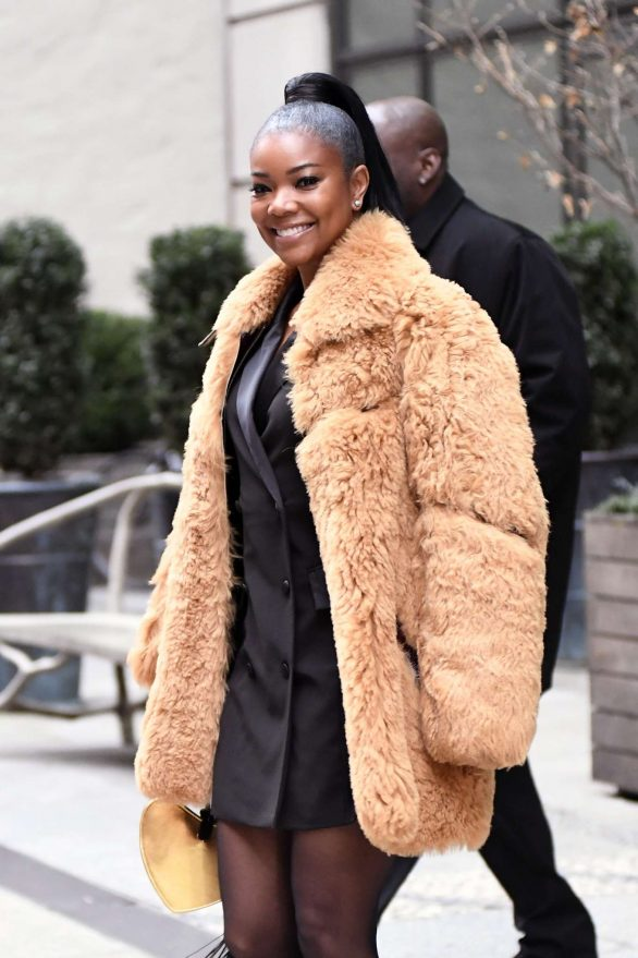 Gabrielle Union in Fur Coat - Leaves her Hotel in New York City