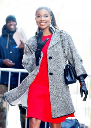 Gabrielle Union in Red Mini Dress Out in NY