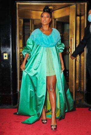 Gabrielle Union - Seen in a green dress in New York