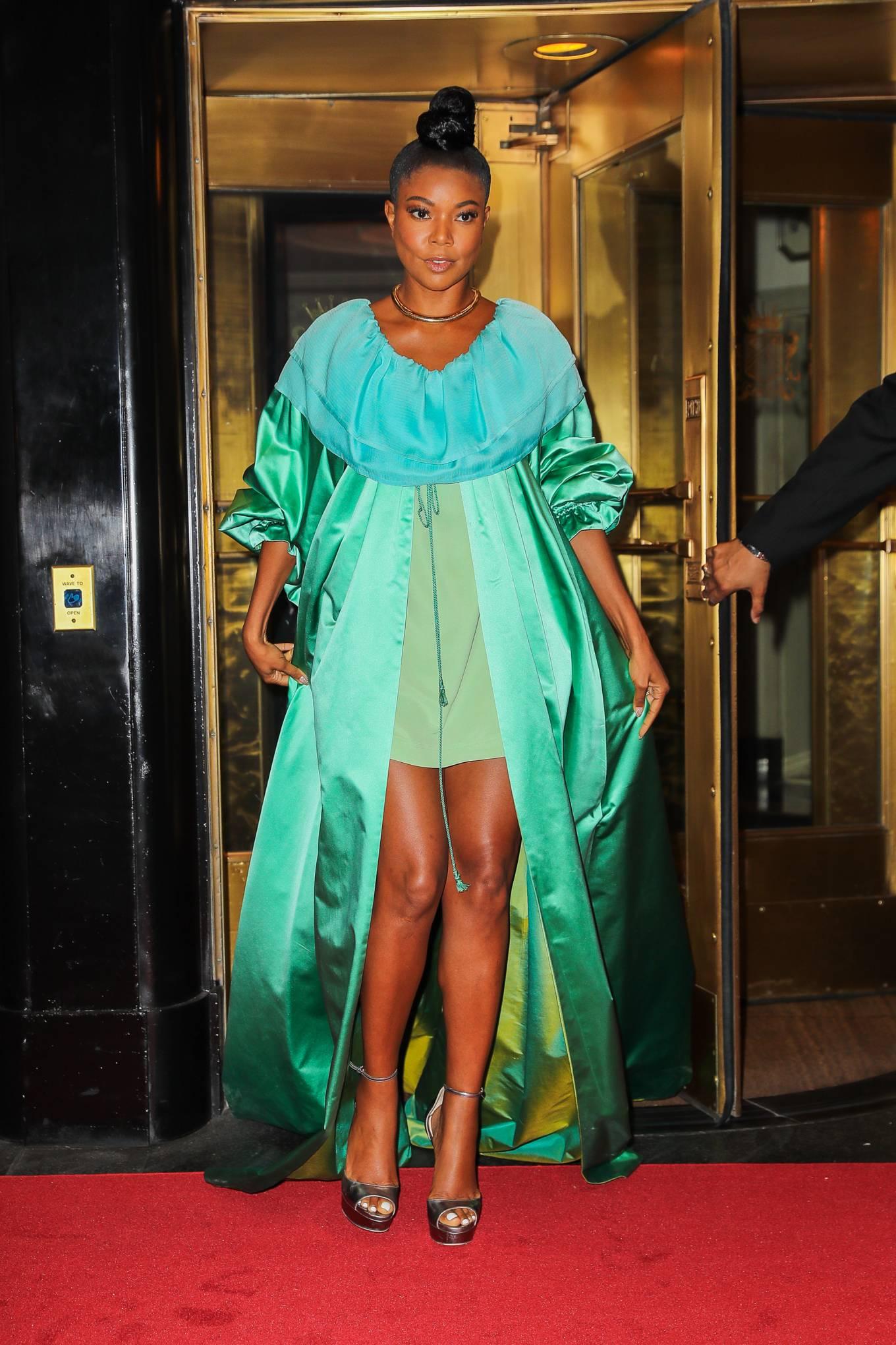 Gabrielle Union 2021 : Gabrielle Union – Seen in a green dress in New York-09