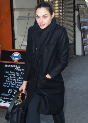 Gal Gadot in Black Coat out in NYC