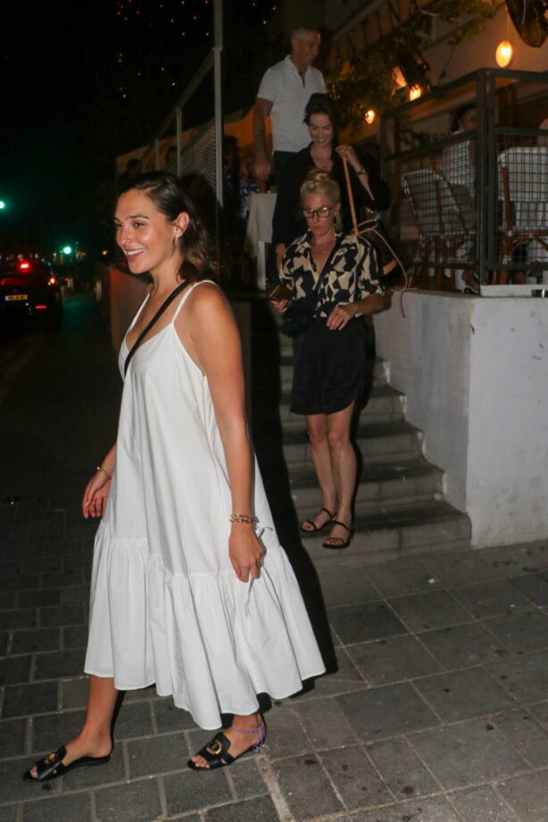 Gal Gadot - In white maxi dress outside Cantina restaurant in Tel Aviv