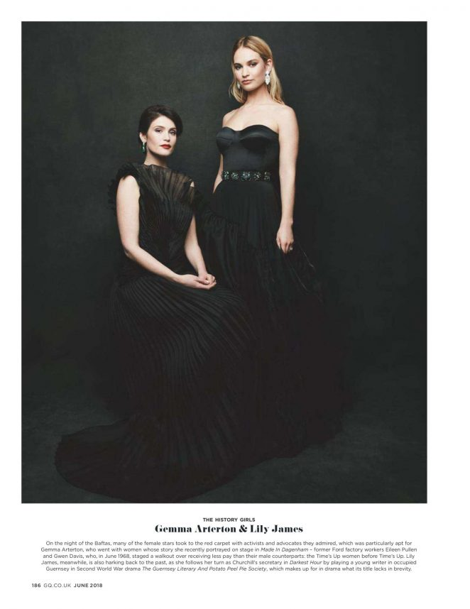 Gemma Arterton and Lily James for British GQ (June 2018)