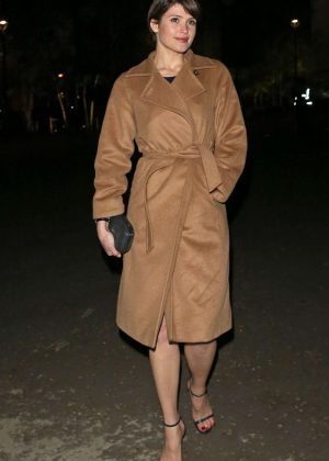 Gemma Arterton in Beige Coat out in London