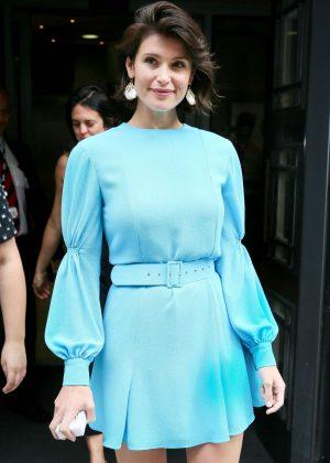 Gemma Arterton in Blue Mini Dress at BBC Radio Two Studios in London