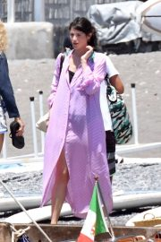 Gemma Arterton in Purple Summer Dress on holiday in Positano