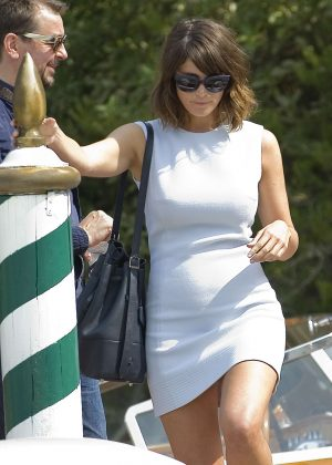 Gemma Arterton in Mini Dress Leaving Excelsior Hotel in Venice