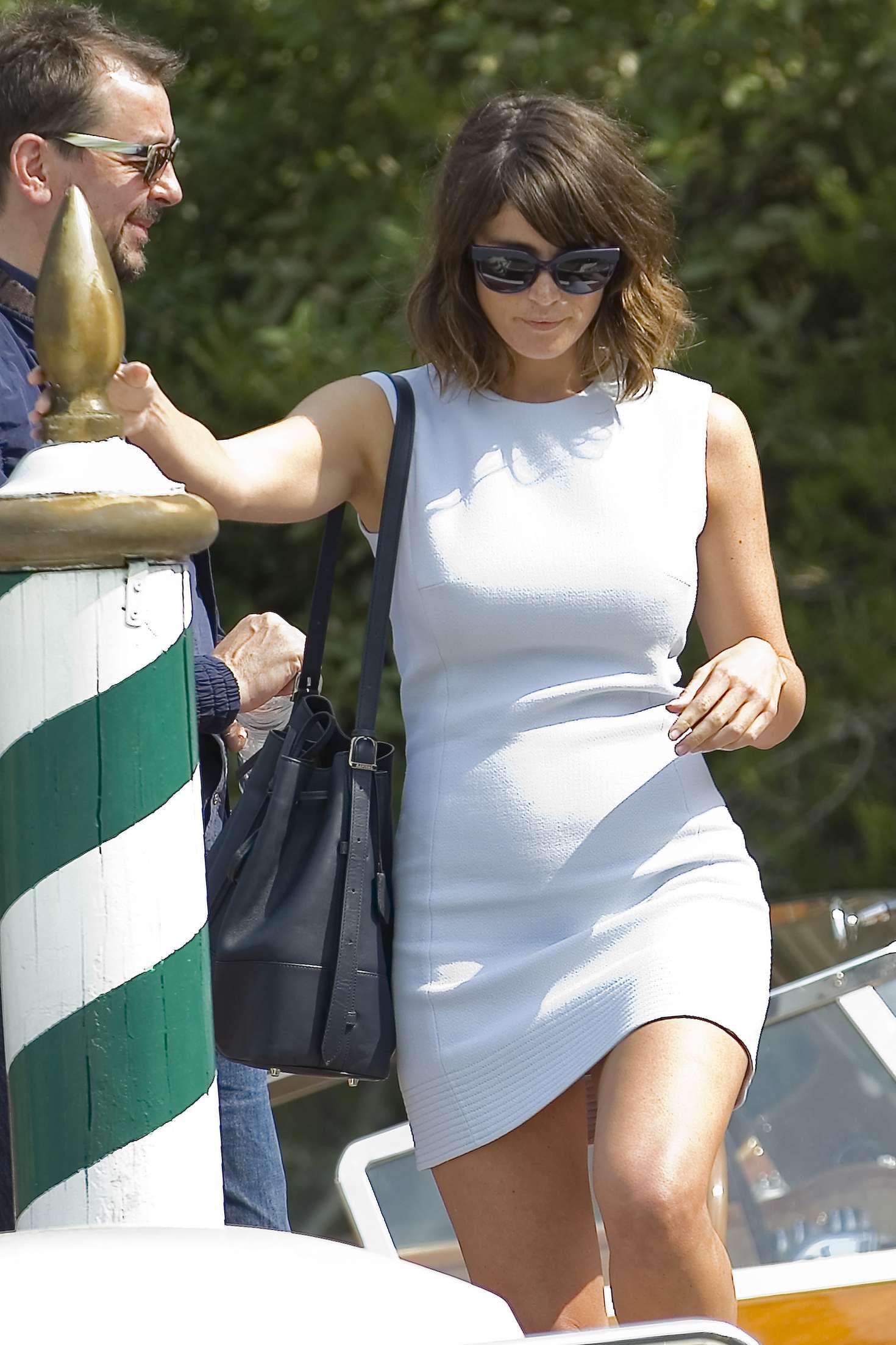 Gemma Arterton In Mini Dress Leaving Excelsior Hotel In Venice