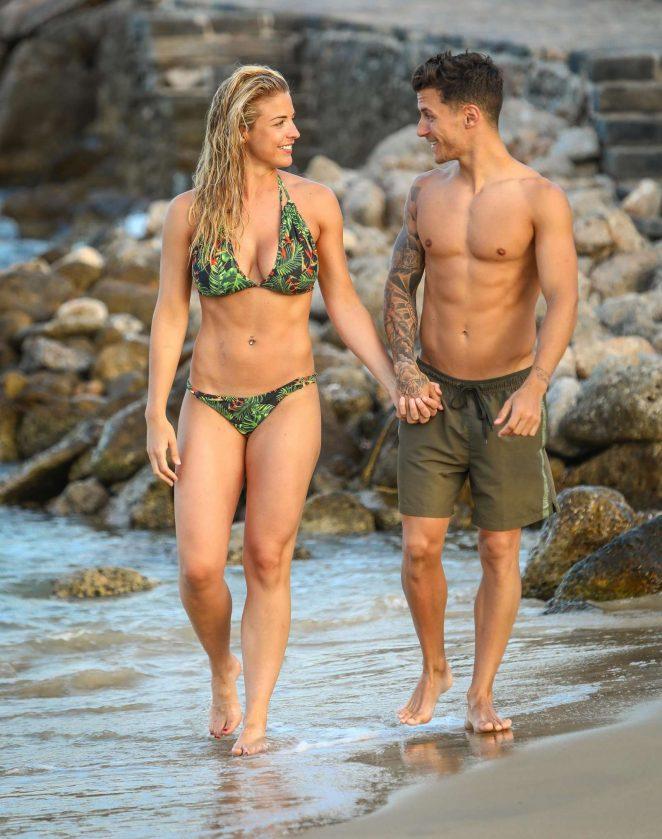 Gemma Atkinson in Bikini at the beach in Crete