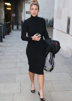 Gemma Atkinson in Black Dress at the BBC Studios in London