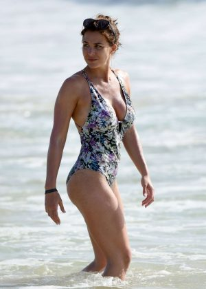Gemma Atkinson in Floral Swimsuit in Cape Verde