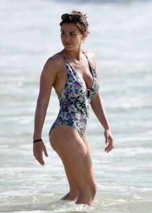 Gemma Atkinson in Floral Swimsuit in Cape Verde