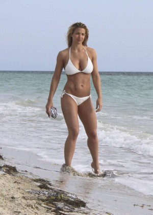 Gemma Atkinson in White Bikini in Cuba