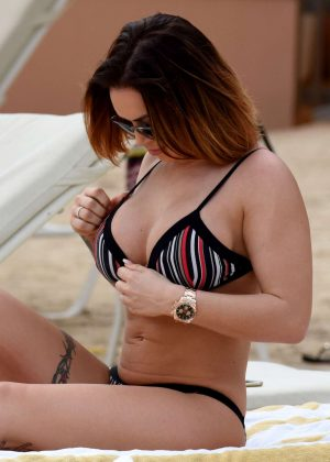 Gemma Massey in Bikini at the pool in Madrid