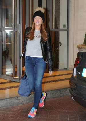 Gemma Merna in Jeans Leaving a London Hotel
