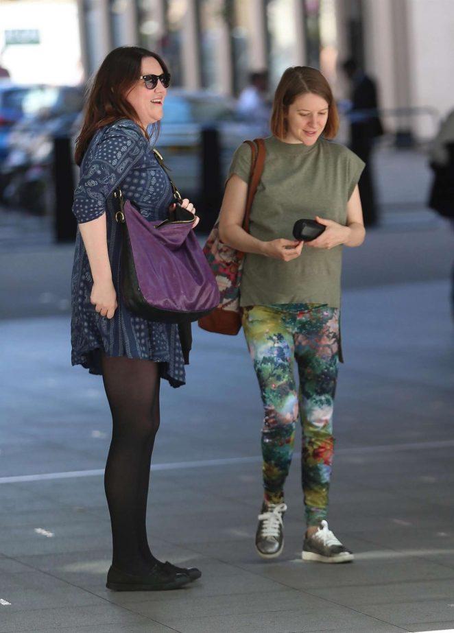 Gemma Whelan with friend Katy Wicks on Great Portland Street in London